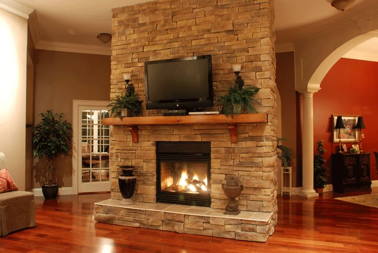 Stacked Rock Fireplace hardscape